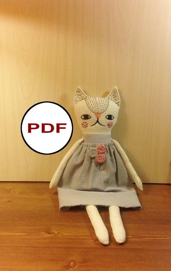 cat sewing pattern PDF cat pattern tutorial PDF doll pattern stuff cat pattern…