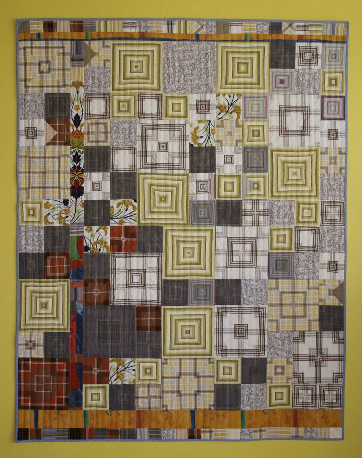 """Discarded men's shirts and fabric samples, 50"""" x 63"""", machine pieced, hand and machine quilted. www.amymeissner.com"""