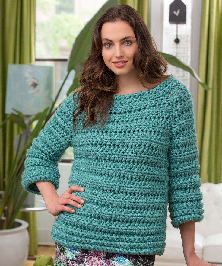 "Big on Comfort Sweater - Free crochet pattern by Heather Lodinsky. Finished Bust: 38 (42, 46, 50, 54)"" Super chunky yarn."
