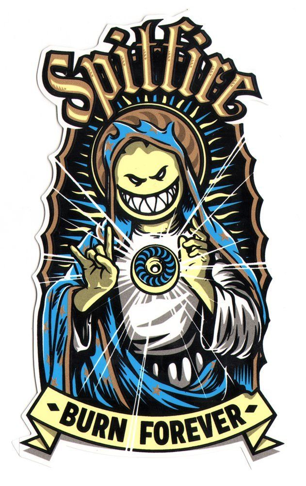 Spitfire wheels skateboard sticker virgin bighead 17cm high approx skate sk8 amazon