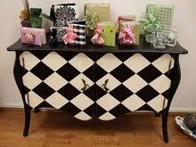 harlequin chestDecor, White Harlequin, Guest Bathroom, Painting Furniture, Black And White, Harlequin Chest, Mackenzie Child, Black White, White Diamonds