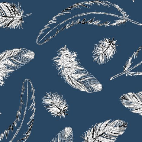 oh my, a feathery sky! fabric by annosch on Spoonflower - custom fabric