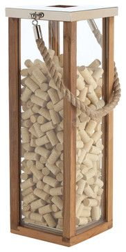 Tate Coastal Beach Jute Rope Handle Wood Steel Silver Candle Lantern- Tall - Beach Style - Candles And Candle Holders - Kathy Kuo Home