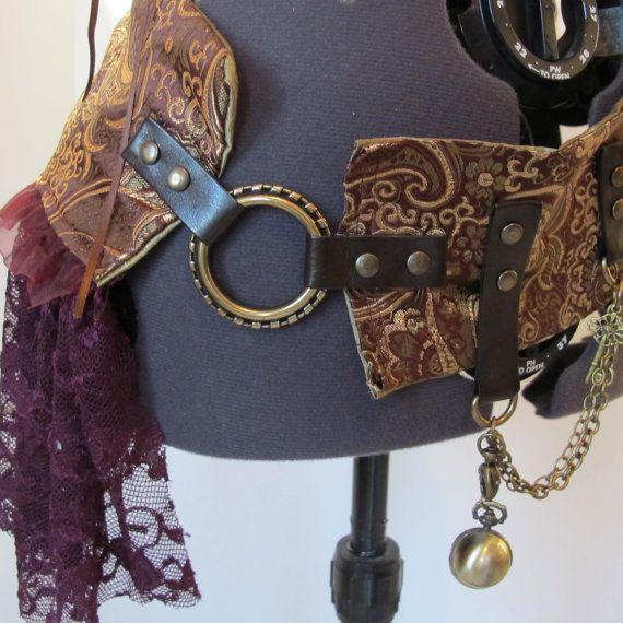 Steampunk Bustle Belt, Utility Belt, Burner Hip Belt. Gypsy Goddess, Tribal fusion. Paisley Brocade One of a Kind.