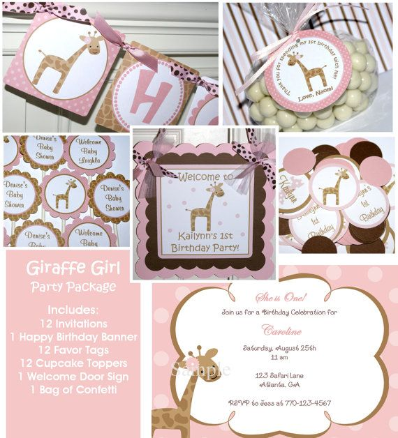Giraffe Girl Birthday Party Package  by ThePartyPaperFairy on Etsy, $88.00