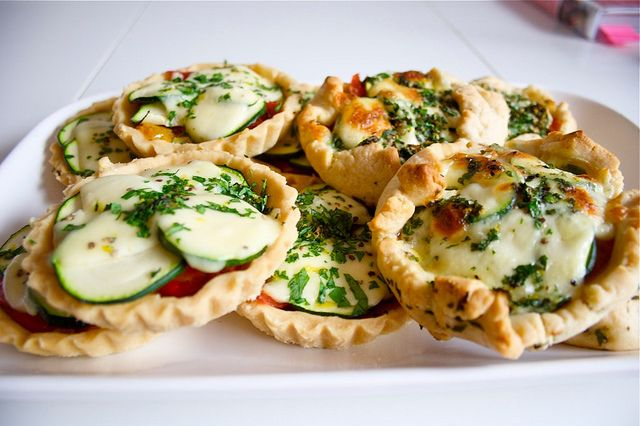 Courgette, pepper and mozzarella tarts with gramolata | by weecateringcompany