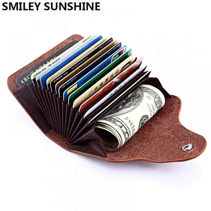 SMILEY SUNSHINE Genuine Leather Men Wallet ID Credit Card Holder Wallets Male Small Coin Purse Women Money Bag Vallet Mini Walet-in Wallets