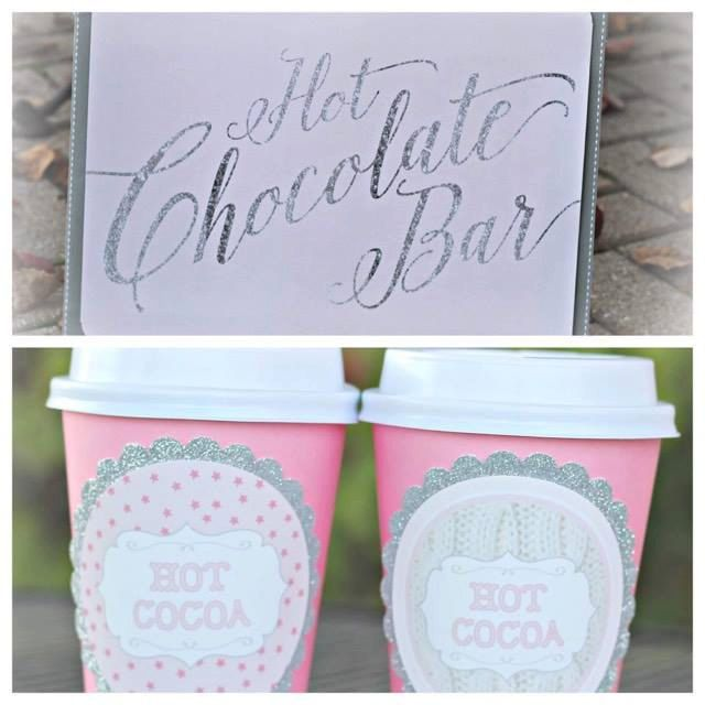 Girl Winter ONEderland/ Winter Wonderland 1st Birthday Party Hot Chocolate Bar Sign and Cus.  Set of 20.  Pink/ Silver / Sweater / hot cocoa by CharmingTouchParties on Etsy