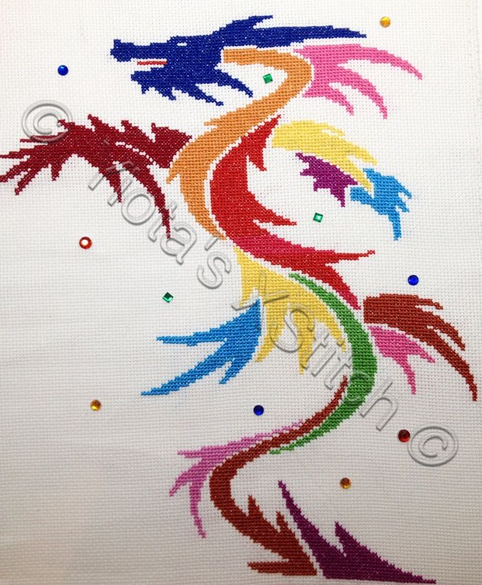 Free abstract dragon cross stitch pattern | Yiotas XStitch