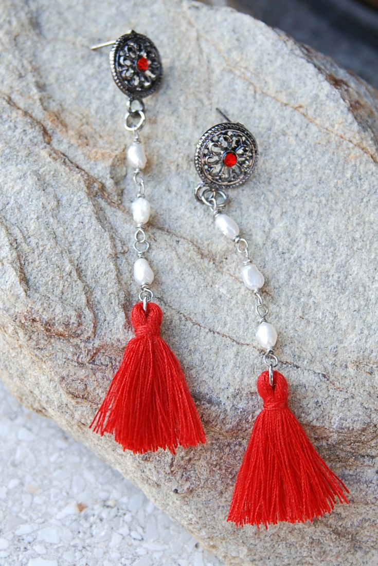 #redearrings #boho #pearlearrings stud earrings with red tassels