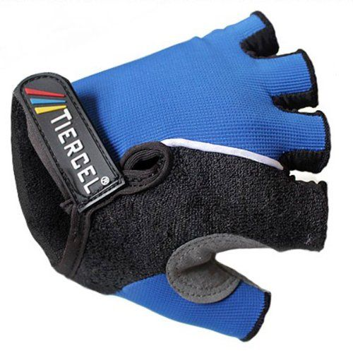 TIERCEL Bicycle Half Finger Blue Gloves Mountain Bike Cycling Gloves, M By BSK -- Details can be found by clicking on the image.
