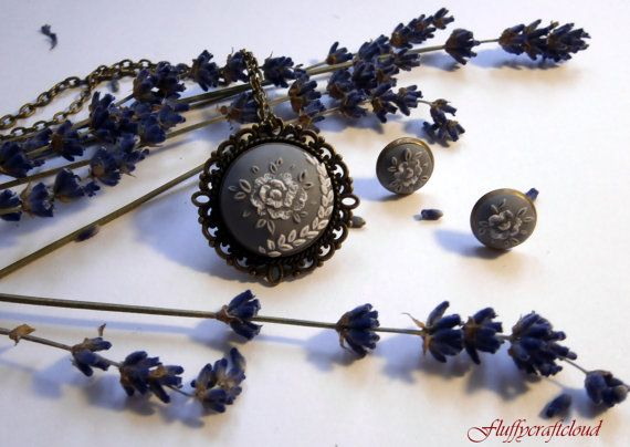 Grey Polymer Clay Jewelry, Embroidery Pendant, Polymer Clay Necklace and Earrings, Polymer Clay Pendant, Round Pendant https://www.etsy.com/shop/Fluffycraftcloud?ref=hdr_shop_menu