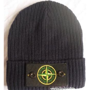 Stone Island Ribbed Beanie Hat In Chocolate