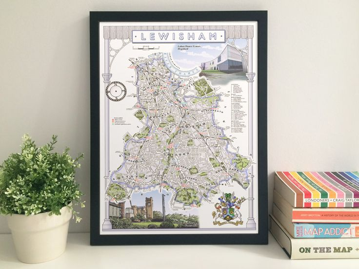 Lewisham Borough illustrated map giclee print by thisismikehall
