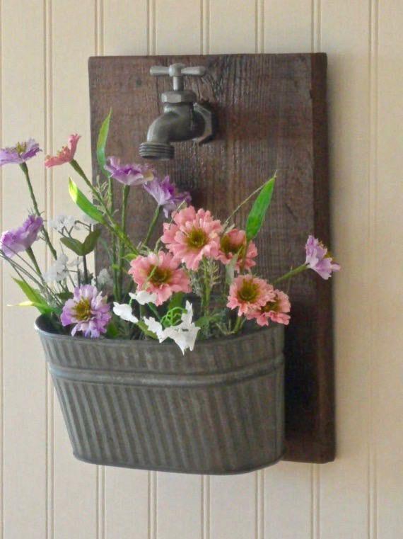 Faucet Wall Planter, metal planter, rustic wall planter, indoor wall planter, fa…