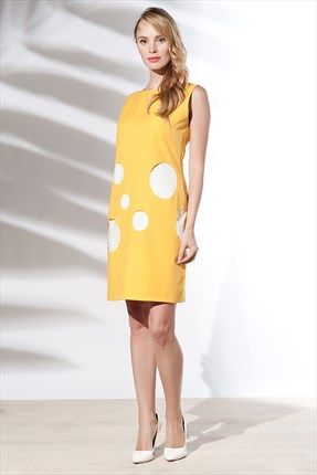 Zanzi - Sarı Petra Elbise 34016  Trendyol da #SLN #zanzi #tizzy #ruj #istanbul #Turkey #russia #moda #fashion #style #shop #boutique #sale #design #blouse #dress #lasercut #crepe