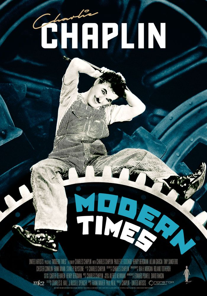 Modern Times (1936) Charlie Chaplin Theatrical Onesheet / Movie Poster for Nonstop Entertainment design by Kellerman Design