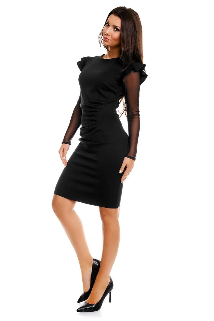 Black Sheath Dress with Perky Shoulders