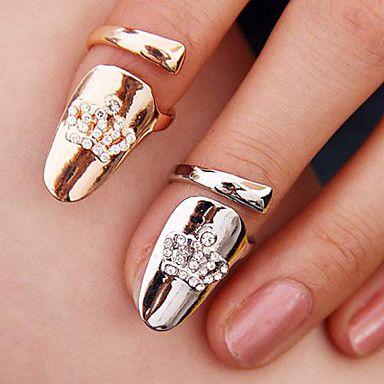 vrouwen kroon-vormige nagel vinger ring (willekeurige kleur) – EUR € 2.11