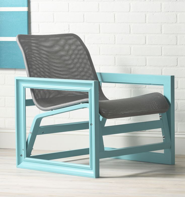 Love this photo frame chair hacked from the IKEA NOLMYRA. The color pops!