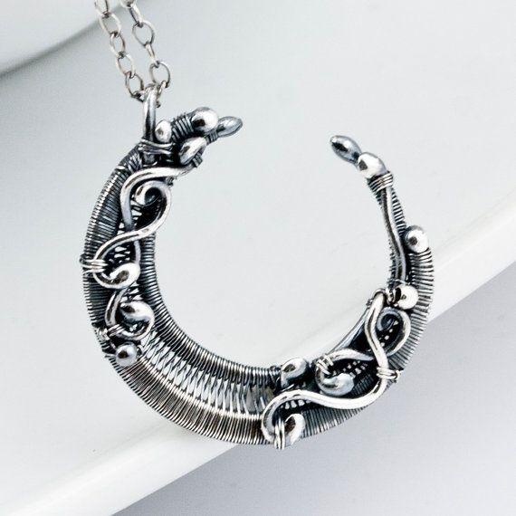 ArT...  Fine Silver Crescent Moon Pendant by sarahndippity on Etsy