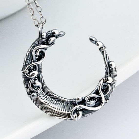 ArT...  Fine Silver Crescent Moon Pendant by sarahndippity on Etsy