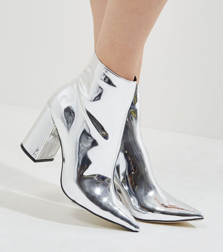 Silver Mirror Pointed Heeled Ankle Boots | New Look