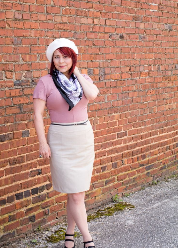 Villains, The Fab 40's, Bonnie Parker Style, Beret, Pencil Skirt Style, Spring scarves, Berkshire nude fishnet hose, fashion for women over 40, spring style for women, Red hair, OOTD, How to wear a pencil skirt