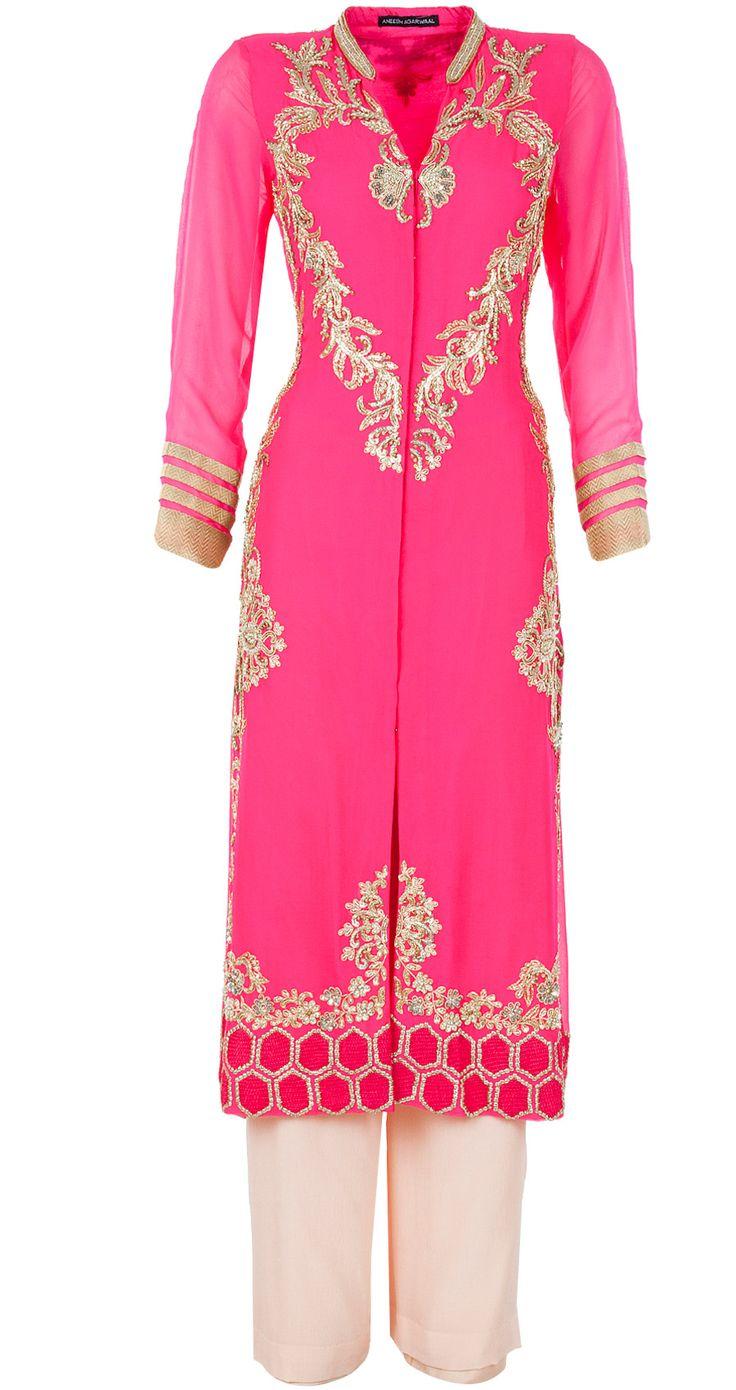Neon pink embroidered straight kurta by ANEESH AGARWAAL. http://www.perniaspopupshop.com/whats-new/aneesh-agarwaal-neon-pink-embroidered-straight-kurta-anac1013stkr.html