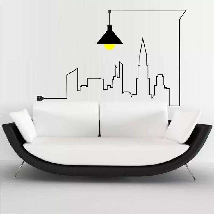 adesivo decorativo de parede cidade metropolis urbano