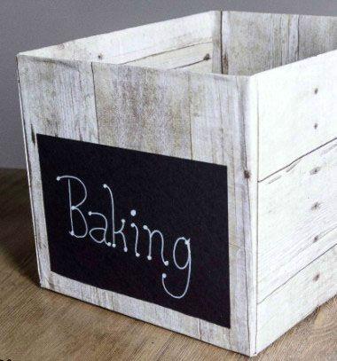 Weathered wood pantry crates from diaper boxes // Fa hatású tároló dobozok karton dobozokból // Mindy - craft & DIY tutorial collection