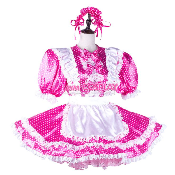 hot pink dots french sissy maid dress satin lockable Unisex Tailor-made[G2227]  | eBay