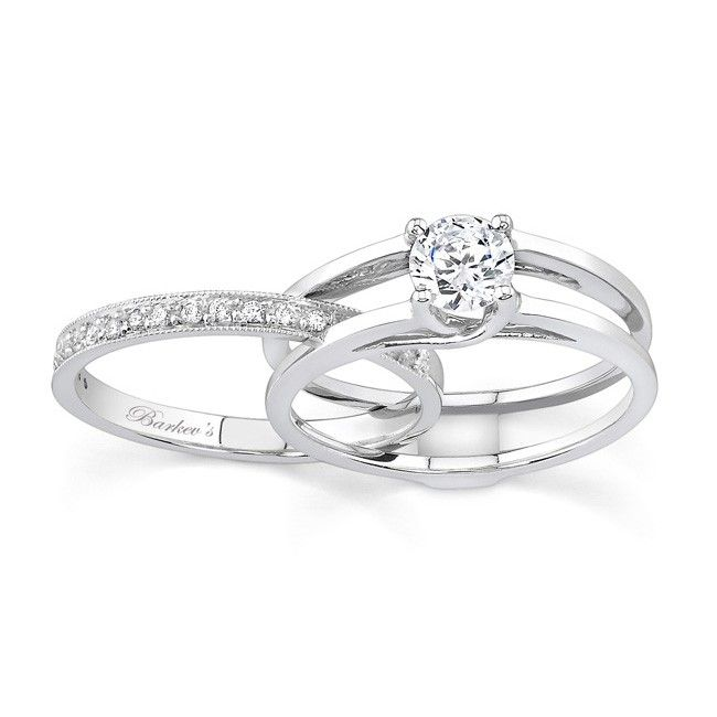This Unique Diamond Wedding Ring Set Features An Interlocking Engagement And Band The Solitaire Is Channel With A Princess