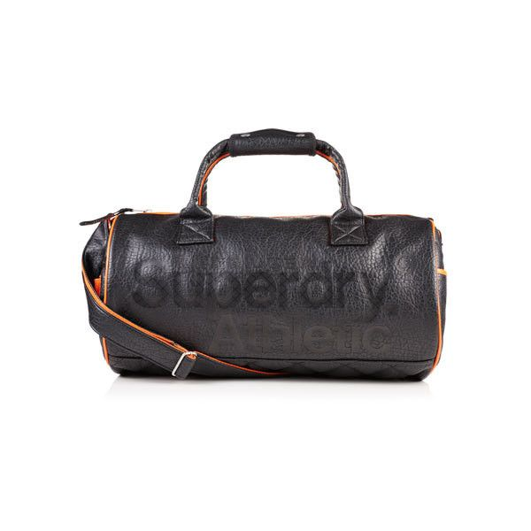 Superdry Athletic Barrel Bag ($75) ❤ liked on Polyvore featuring bags, handbags, shoulder bags, black, leather handbags, quilted purses, leather barrel bag, leather shoulder handbags and top handle leather handbags