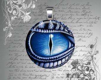 Glas Fliesen Halskette Anhänger Fantasy DRAGON EYE blau Mens Teen Womens Halskette 25mm