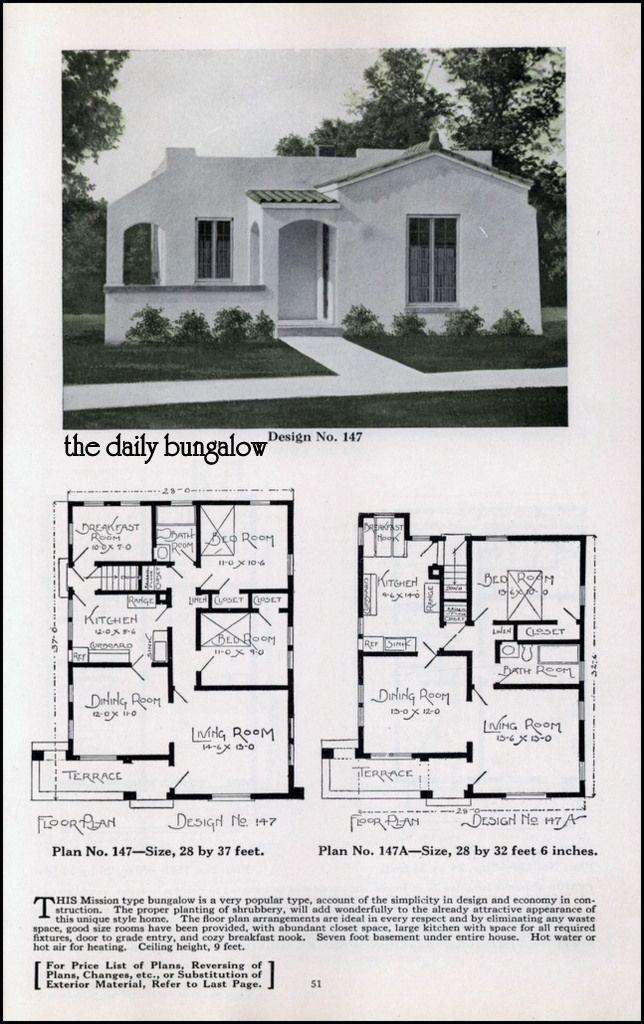 Vintage spanish revival house plans for Spanish bungalow floor plans