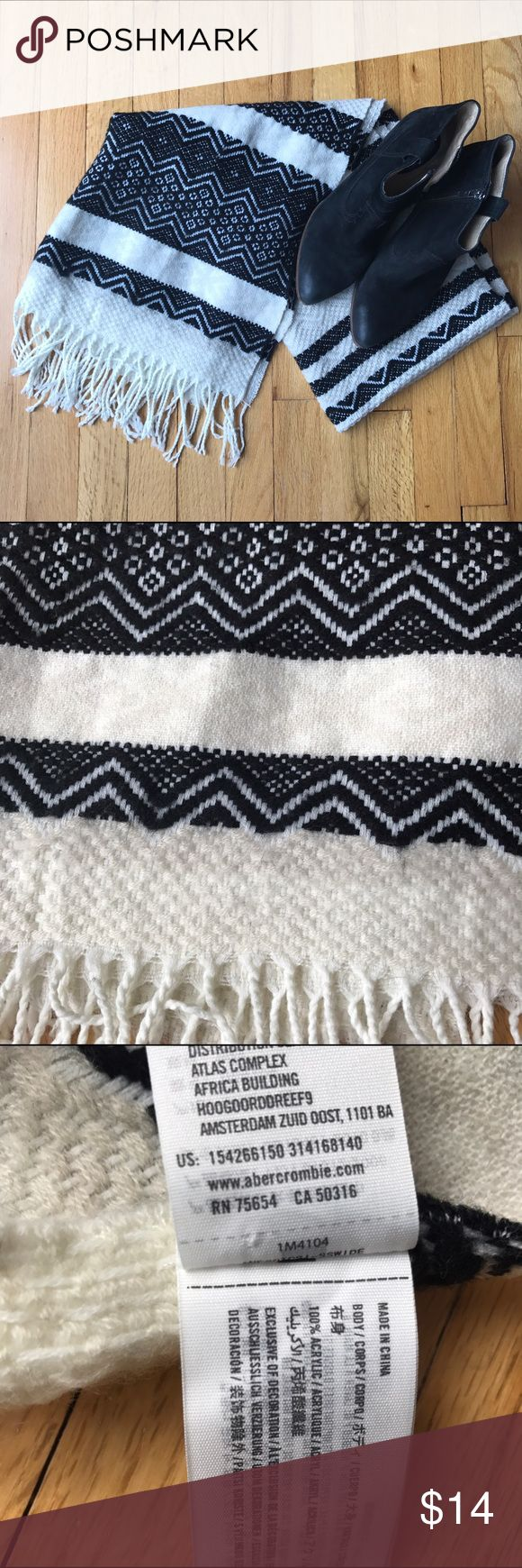 "Abercrombie tribal print blanket scarf fringe Gorgeous A+F scarf with black and cream tribal print and fringe. Excellent used condition. Measures 21""x60"". Abercrombie & Fitch Accessories Scarves & Wraps"