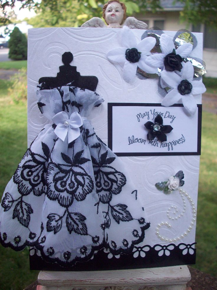 Nice Mother of the Bride card using a hankie for the dress!: Wedding Cards, Cards Ideas, Bridal Shower Cards, Dresses Cards, Bridal Cards, Pretty Cards, Dresses Form, Black White, Scrapbook Cardmaking