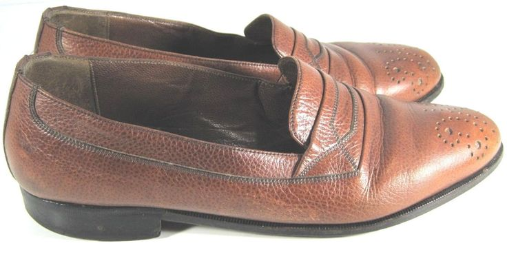 Bally Men Shoes Loafers Size 8 D Brown Italian Leather. #Bally #LoafersSlipOns