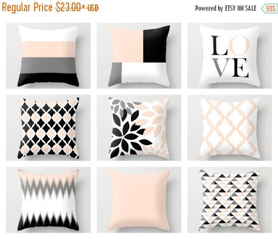 24 HOUR SALE Throw Pillow Covers Blush Peach By HLBhomedesigns