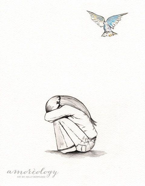 O' My Soul / Hope / Minimal / Girl / watercolor by kellybermudez, $20.00