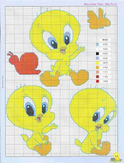baby tweety cross stitch pattern with color key