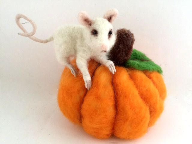 OOAK needle felted animal mouse and pumpkin Autumn Thanksgiving centerpiece decor by ConchyGemDolls on Etsy