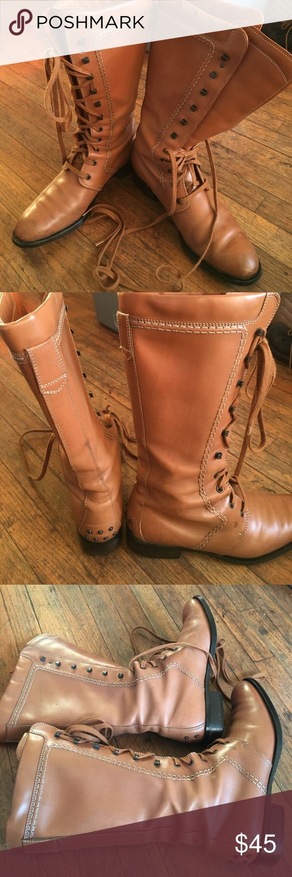 AUTHENTIC TOD'S RIDING BOOTS CAMEL SZ 8.5 USED CONDITION SOME SPOTS ON FRONT CAN BE POLISHED LEATHER GOOD ORIGINAL LACES PERFECT FOR HORSE BACK RIDING SZ 8.5 BROKEN END COMFORTABLE SEE PICS! TODS Shoes Combat & Moto Boots
