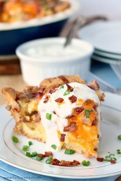 Easy Loaded Baked Potato Quiche - With a crust shortcut! Easier than you think, and loaded with bacon, ham, potatoes and cheese.