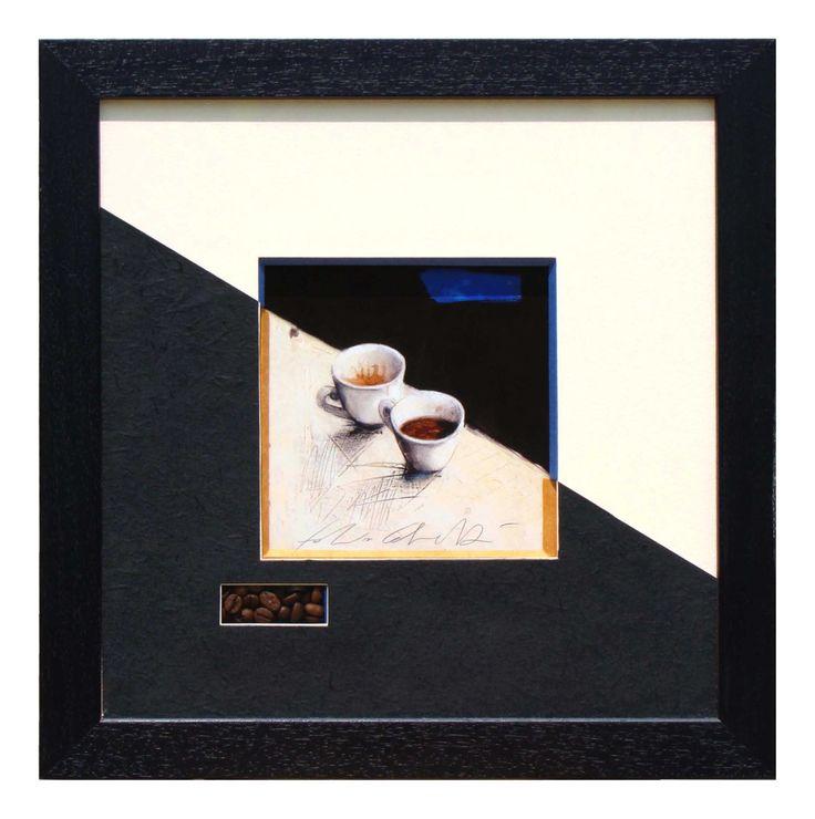 Café réalisé par Nathalie en 2009PP de 2 couleurs suivant l'image sur un biseau 45° orange en bas et biseau droit bleu en haut. Niche remplie de grains de café.