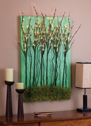 Canvas craft ideas. Lighted tree branches on canvas with moss, painted background