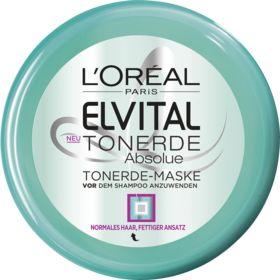 Die Maske Tonerde Absolue von Elvital für normales bis fettiges Haar befreit von überschüssigem Fett, Silikon- und  Stylinresten sowie weiteren Unreinheite...