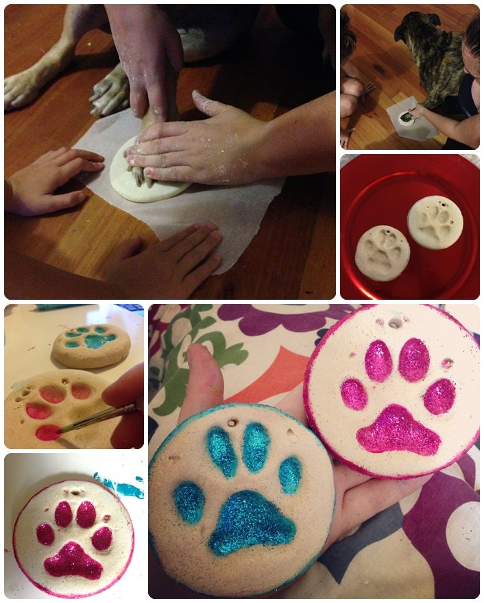 Dog Paw Print Ornaments We used a Salt Dough recipe to make these ornaments of our dogs paw prints. We painted with acrylic paints and added glitter to make them sparkle on the tree. Pinspiration http://www.pinterest.com/pin/541346817680282030/