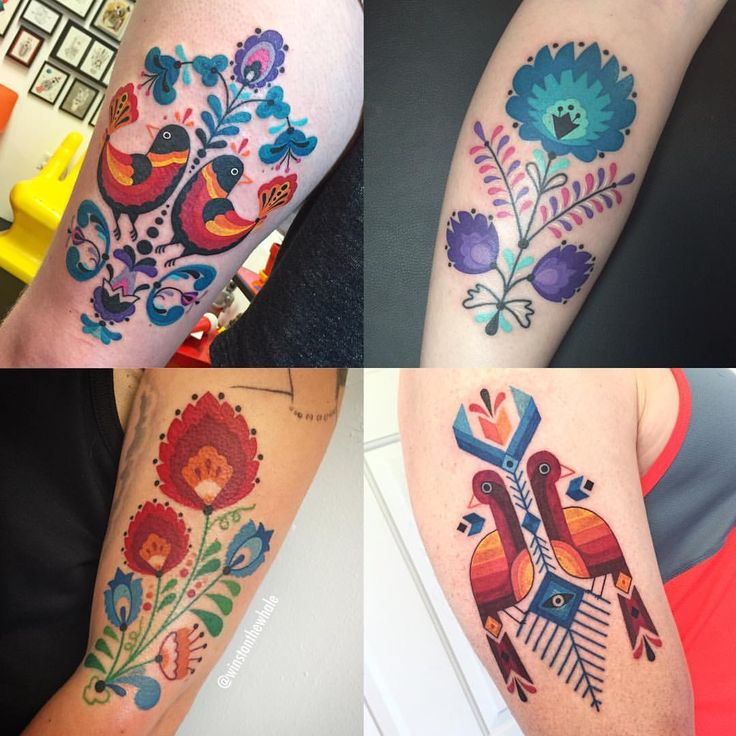 """6,481 Likes, 103 Comments - Winston The Whale (@winstonthewhale) on Instagram: """"Some folk art inspired tattoos from 2016. More folk art please!"""""""